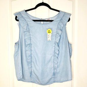 NWT Chambray Denim Ruffled Sleeveless Blouse 0X
